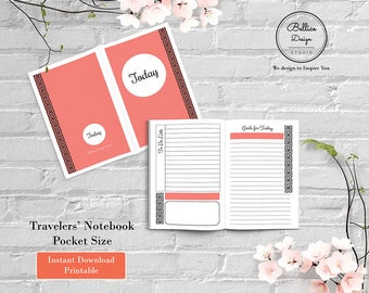 Pocket Insert, Today Planner, Field Notes Printable, Pocket Inserts, 2 Page Daily Planner, Daily TN Insert, Undated Daily Planner, Foxy Fix
