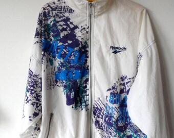 Reebok, 90s, vintage, windbreaker, jacket, multicolour, white, L size, oversized