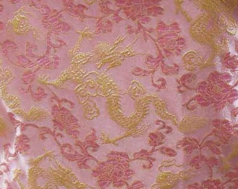 Chinese brocade satin fabric material dull gold dragon on pink embroidered by the 0.5 YARDS, Yards Meters cbs 533
