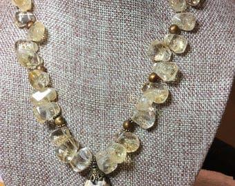 Feldspar Pendant with Citrine Briolettes, Necklace and Earring Set