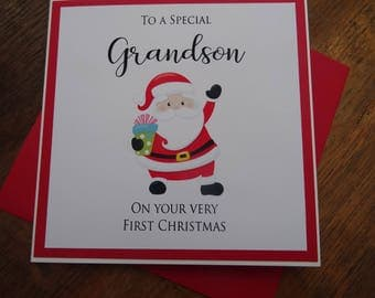 Grandson/Grandaughter First Christmas Card - Special Grandson/Special Granddaughter Christmas Card - Baby Very First Xmas Handmade Card