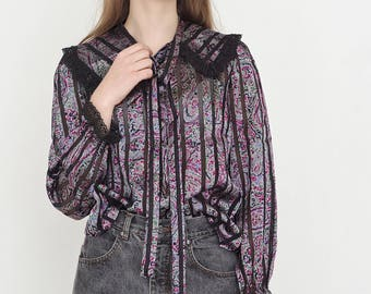 VINTAGE Purple Stripe See Through Long Sleeve Retro Shirt