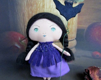 Purple witch tiny toy ragdoll Cute girl textile doll fantasy small art interior doll nursery decor Tiny doll fun gift stuffed witch art doll