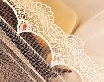 Soft Lace Chapel Veil / Soft Bridal Veils / Chapel Length Bridal Veil / Beaded Lace Chapel Veils / Chapel Length Wedding Veil / Soft Veil