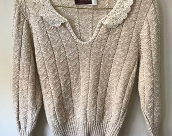 Women's Vintage Lace-Collared Knit Sweater - by Bernice Creations