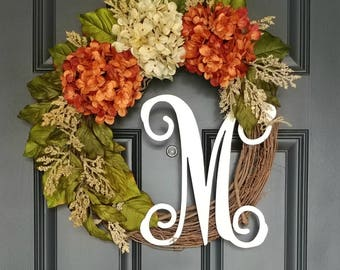 Everyday Wreath,Orange Hydrangea Wreath,Farmhouse Wreath,Rustic Wreath,Wreaths for Spring,Front Door Wreath,Housewarming Gift,Initial Wreath
