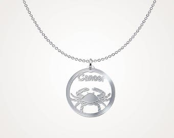 Zodiac cancer necklace - cancer constellation necklace - .925 Sterling Silver Necklace