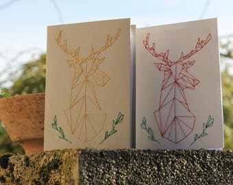Customizable hand embroidered deer card