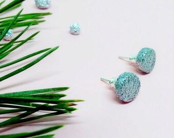 Earrings for christmas, glitter stud earrings, sparkly round earrings, ceramic geometric earrings, shiny earrings, sparkish stud earrings