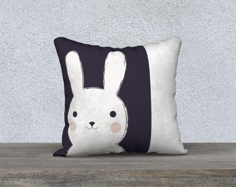 "DECORATIVE pillow cover ""LAPINO"" child's room, pillow for kids, decoration, rabbit illustration, black and white"