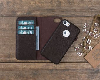 Leather iPhone 8 Plus Case, iPhone 8 Plus Wallet Case, iPhone 8 Plus Card Case, iPhone 8 Plus Cover, Magnetic iPhone 8 Plus Leather Case