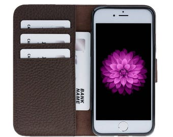 Leather Wallet Case for iPhone 8 / iPhone 8 Plus, Genuine Leather Cover for iPhone 8, Personalize Card Holder for iPhone 8 Plus, Brown