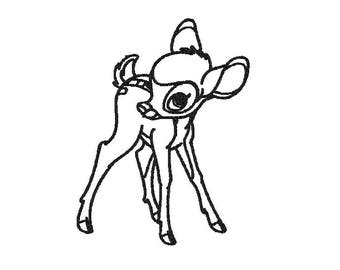 Embroidery Bambi outline design comes in 3 sizes in 10 formats