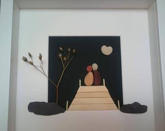 Pebble art couple, Pebble art picture, Pebble art family, Pebbleart, Valentine's gift, Anniversary gift, Wedding gift, Parent's gift