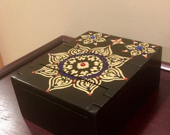 Hand painted trinket box with tri-fold lid