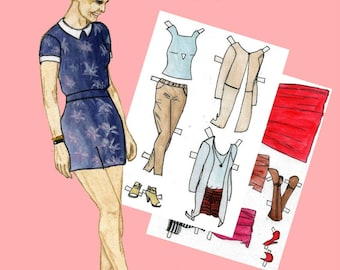 Paper doll Paper doll girl Printable paper dolls Julia #002 Digital paper doll Digital download