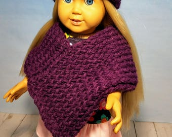 18 Inch Doll Clothes- Pink & Purple Designed Dress with Matching Hat and Poncho