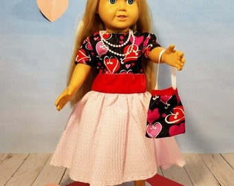 18 Inch Doll Clothes Valentines Party Dress w/ purse
