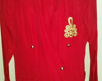 Vintage 2 Piece Red Pants Suit - Size 8