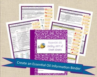 Essential Oil SAFETY Cheat Sheet SET of Printable Healthy Journal - Health Printable, Planner Pages PDF, Worksheets pdf, Essential Oil Book
