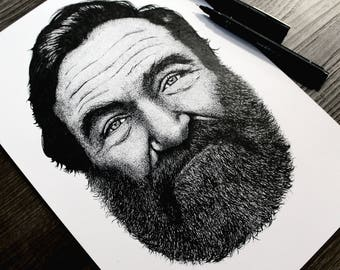 ORIGINAL Bearded Robin Williams Stippled A4 Portrait - Made with 1000s of tiny dots
