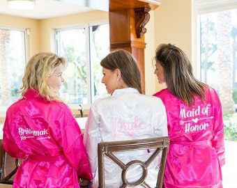 Set of 5 Bridesmaids Robes, Silk Bridesmaids Robes, Satin Bridesmaids Robes, Monogrammed Bridesmaids Robes, Bridesmaids Robes Gifts