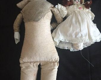 Antique German Hertwig Doll and Porcelain Doll (Assumed German)