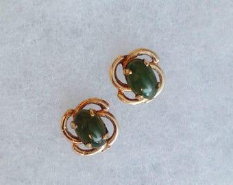 Vintage! Gold fill with jade little stud pierced earrings.