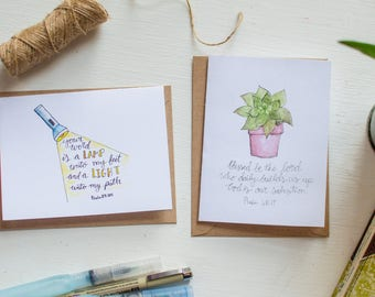 Bible Verse Note Card Set (pack of 4 cards)