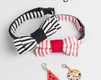 Black and White stripe cat collar with a water melon / Alice in Wonderland charm