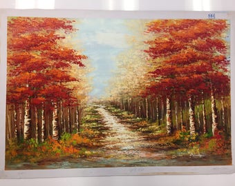 Vibrant Red Woods Oil Painting