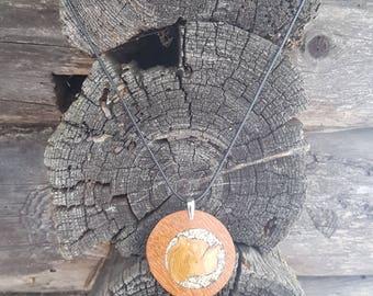 Large big wooden pendant - juniper wood, bilinga wood. Juniper wood, shell inlay