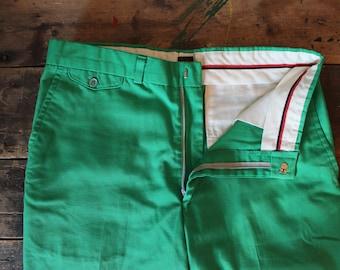 Vintage 60's Pants | Emerald Green | By John Weitz | 32x31