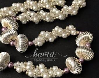 Elegant shiny necklace - Original designer exquisite handmade woven bead jewellery - Classy - Bright - Beautiful gift