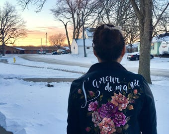 Statement leather jacket hand painted with delicate roses GIFT for that special  Someone by Nanette Catigbe