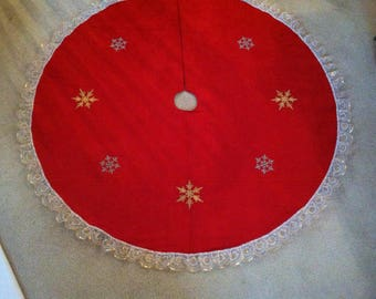 Red suede tree skirt
