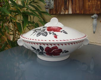 The France AMANDINOISE - earthenware tureen - coffee March Poreylor - Saint Amand, Moulin des loups - french antique - Made in France