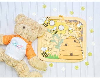 Unique guest book, Scenery, flowers, bumble bee, Sign in, personalised guest book, welcome baby, baby boy, baby girl, handmade, hand drawn