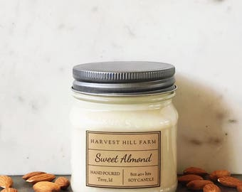 SWEET ALMOND Soy Candle - hand poured - natural - scented soy candle - mason jar soy candle - 8oz - housewarming gift - hostess gift