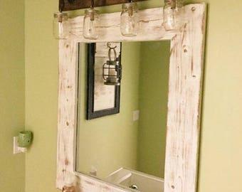 Mirror, White Distressed Wood, Wood Frame Mirror, Rustic Wood Mirror, Bathroom Mirror, Wall Mirror, Wall Decor, Small Mirror, Farmhouse