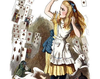 Happy Unbirthday Greeting Card - Alice with playing cards - 5x7 premium white card - with envelop and sealed in cellophane