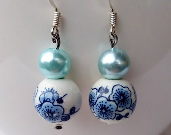 Blue porcelain Flower Earrings