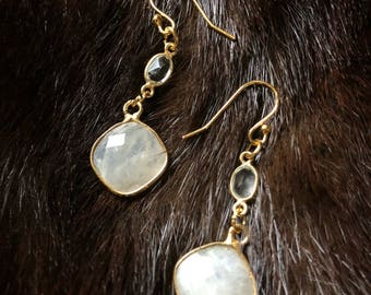 Multi Gemstone:  Light Moonstone & Natural Quartz // Gemstone Earrings // Gold Earrings // Simple // Drop Earrings