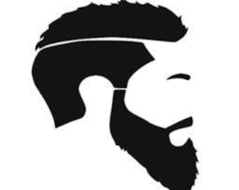 Beard side View decal sticker Laptop Car Truck woods bearded villain man hair respect elder mustache ride label growth natural