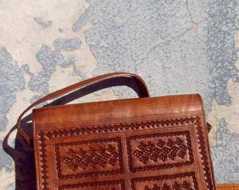 Brown Handmade Moroccan Embossed Leather Messenger Cross Body Bag