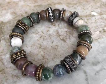 Assorted 12MM Polished Agate, Solidite and Howlite Bracelet