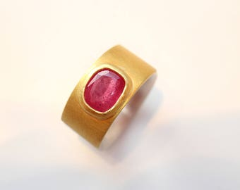 Silver and gold ring with Ruby