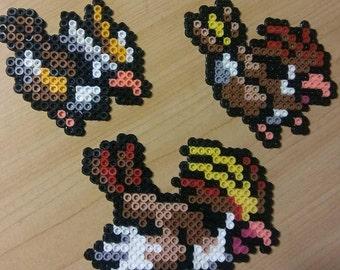Pidgeot Evolution Chain Perler Bead Magnets
