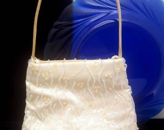 Vintage White valerie Stevens Beaded Purse W/ Fringe