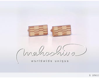 wooden cuff links wood cherry maple handmade unique exclusive limited jewelry - mahoshiva k 2017-50